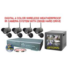 WIRELESS 4 CAMERA IR WEATHERPROOF SYSTEM WITH A CPCAM 250GB DVR AND A CD-RW