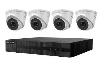 Hikvision EKI-Q41T24 Kit Includes Four 2 Megapixel Outdoor Turret Cameras, 2.8mm Lens with One 4 Channel NVR with PoE, 1TB
